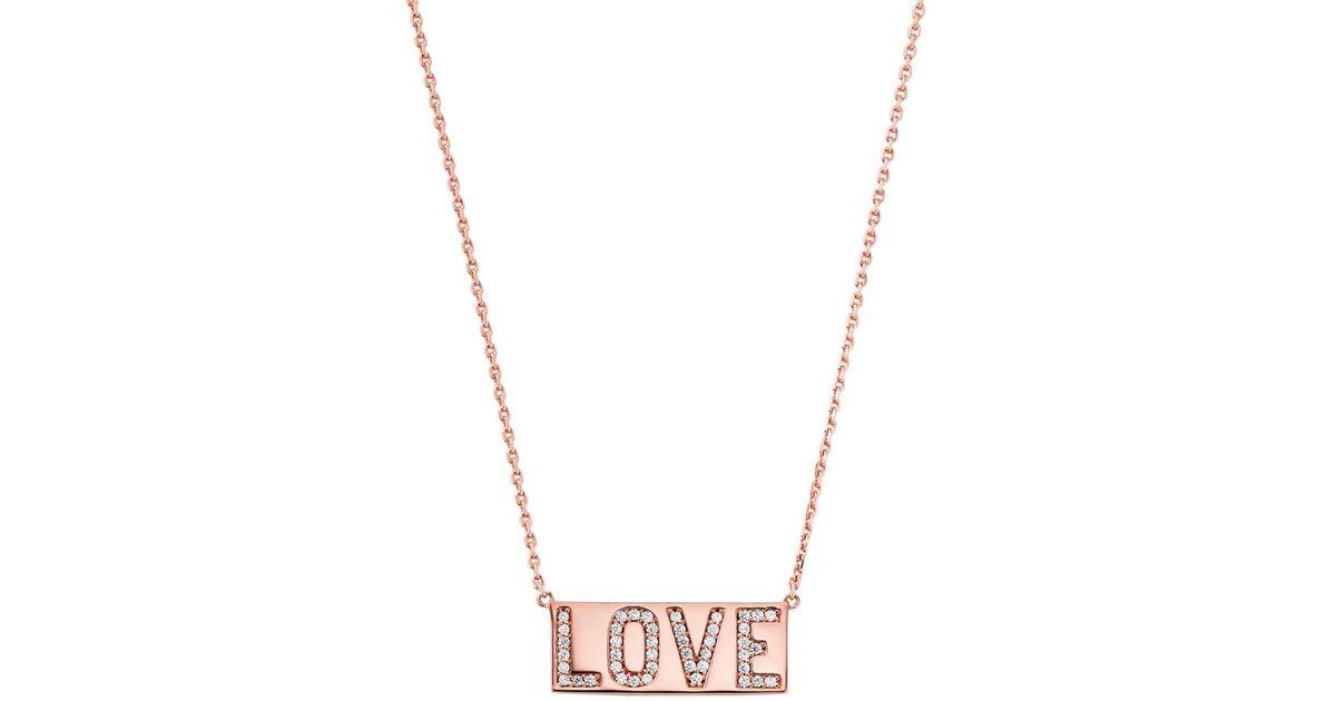 54c6331b8e3c Lyst - Michael Kors Rose Gold-tone Pavé Love Pendant Necklace