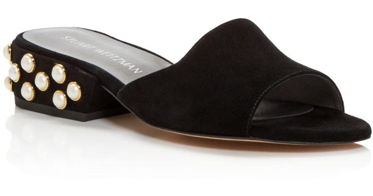 88056a65258d Stuart Weitzman Sliderpearl Suede Slide Sandals in Black - Lyst