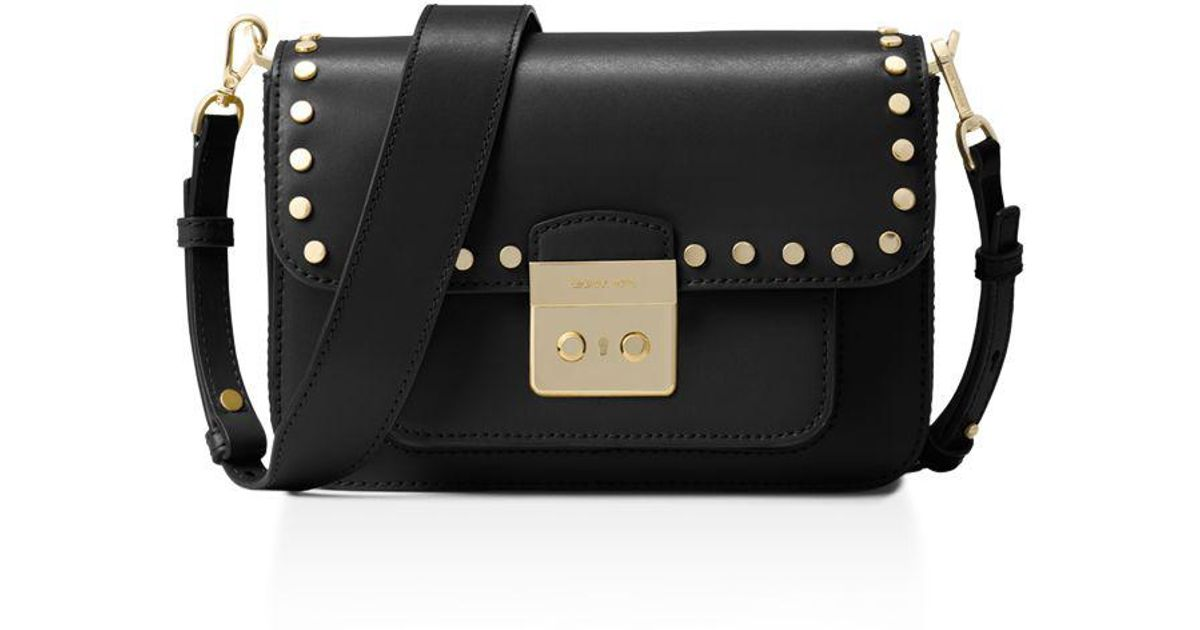 dada7343abf1 ... Lyst - Michael Michael Kors Sloan Editor Studded Large Leather Shoulder  Bag in Black ...