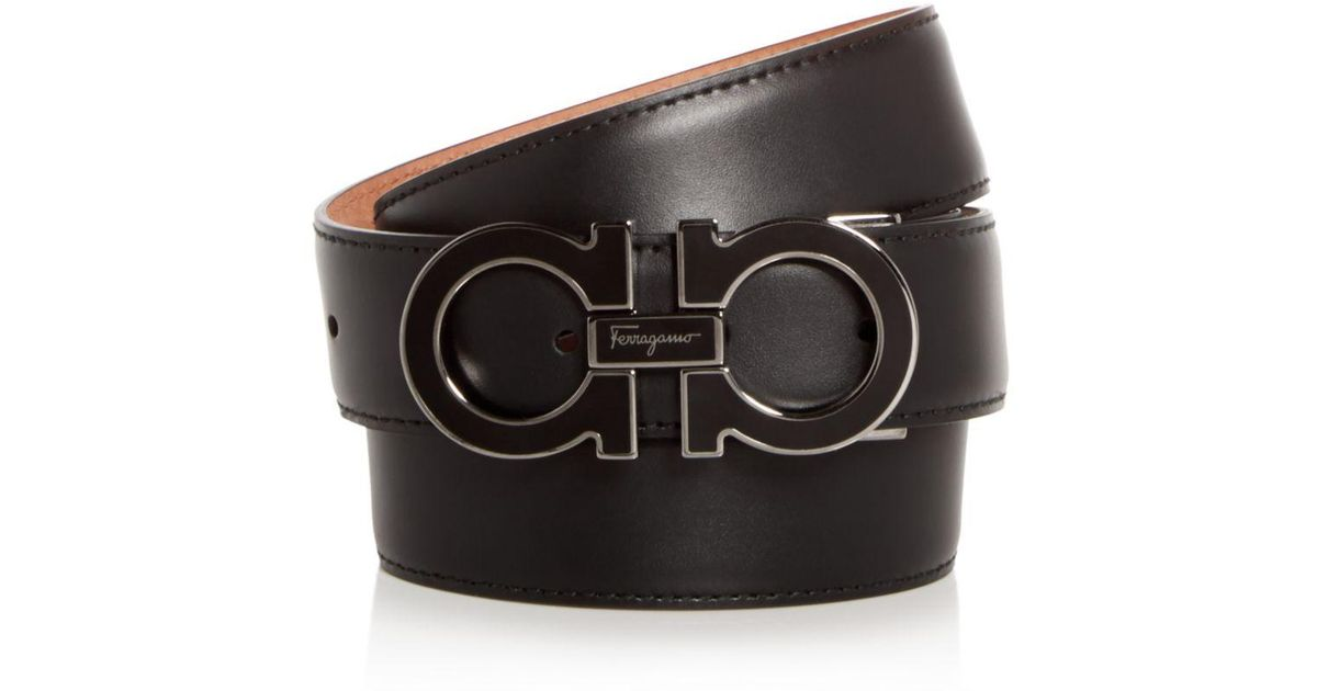 fa8bf9c1e3a2c ... free shipping ferragamo enamel double gancini leather belt in black for  men lyst 0786c 183cd