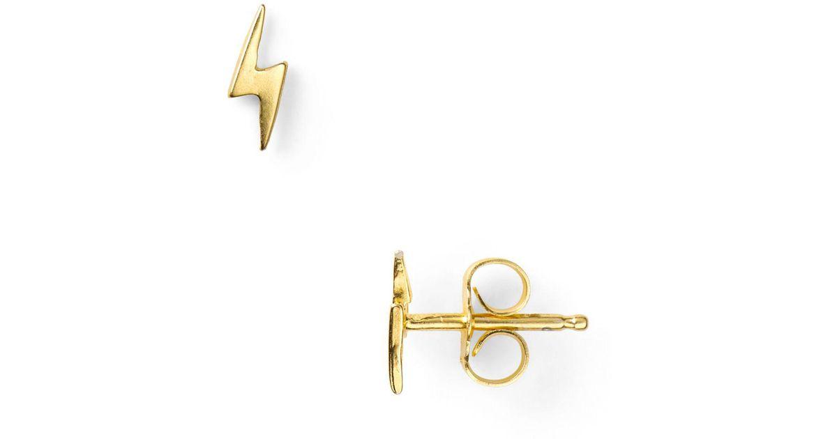 Lyst Dogeared Little Things Mini Gold Lightning Bolt Stud Earrings In Metallic