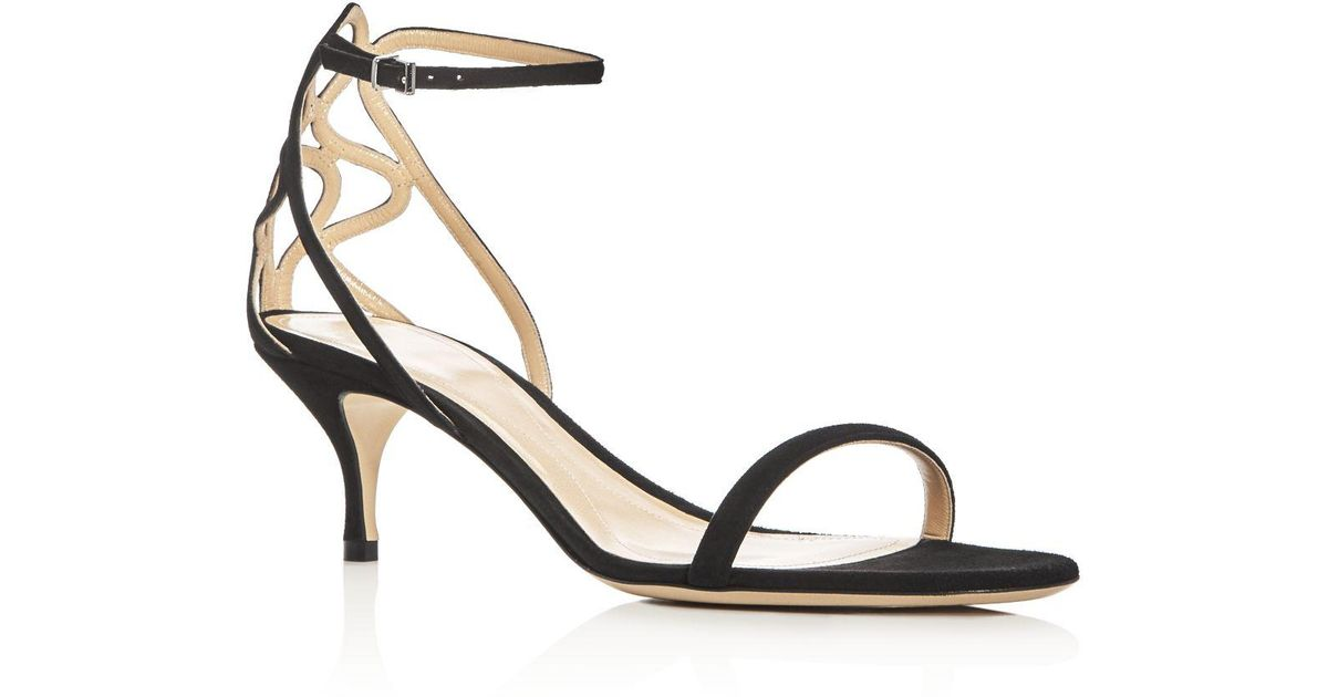 9f26d25e5879 Lyst - Giorgio Armani Ankle Strap Low Heel Sandals in Black