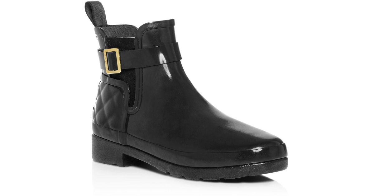 Lyst Hunter Refined Gloss Quilted Chelsea Rain Booties