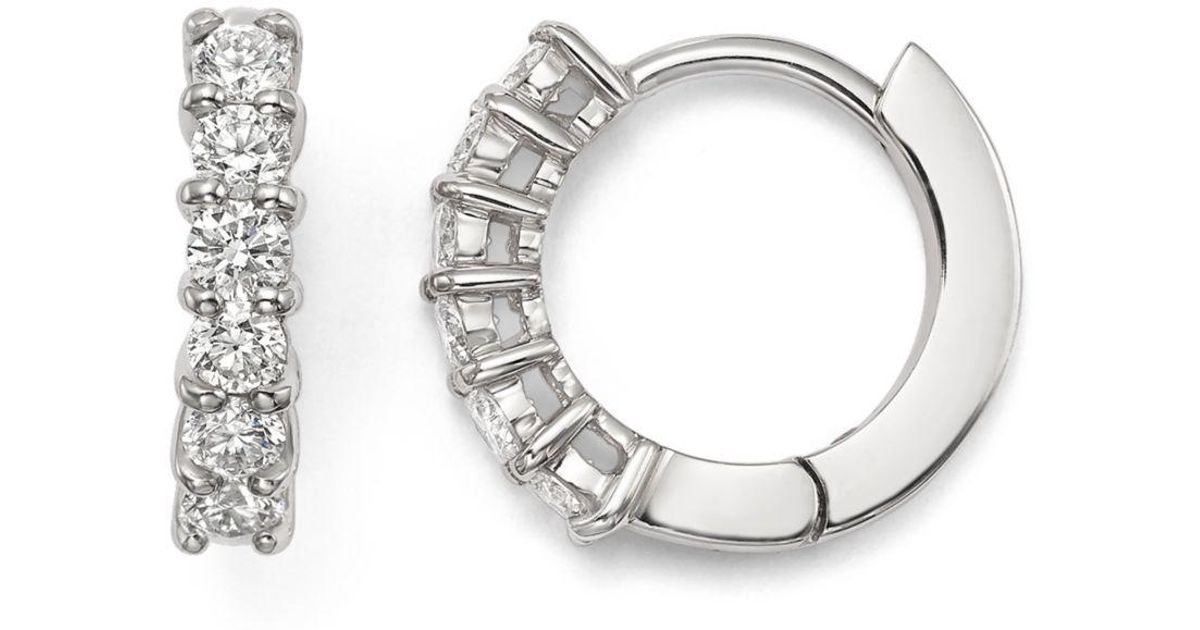 Lyst Roberto Coin 18k White Gold Small Hoop Earrings With Diamonds In Metallic