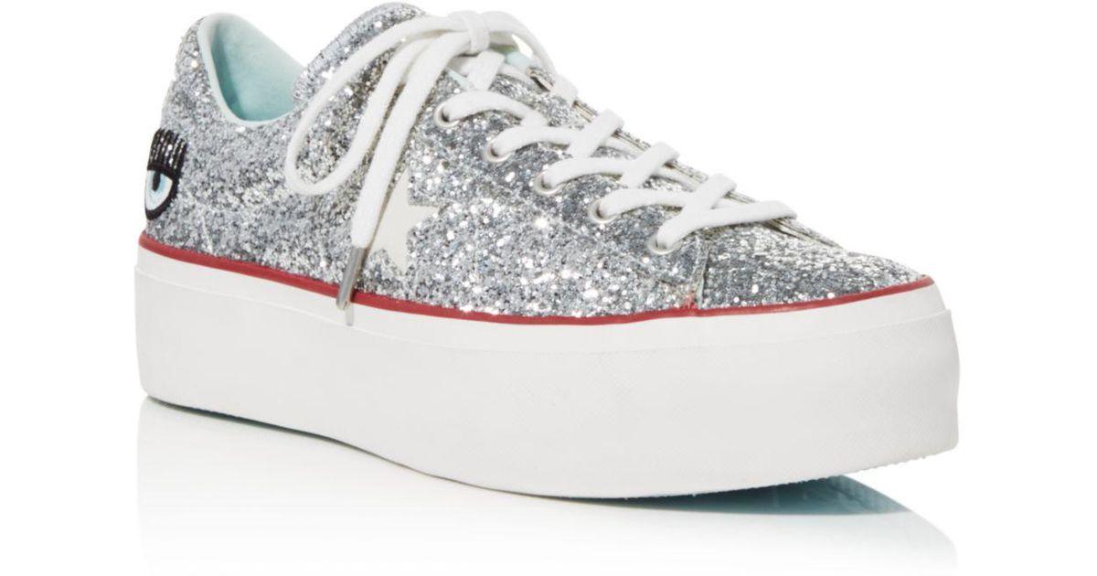 a246592ab49 Converse Women s One Star Platform X Chiara Ferragni Glitter Sneakers in  Blue - Lyst