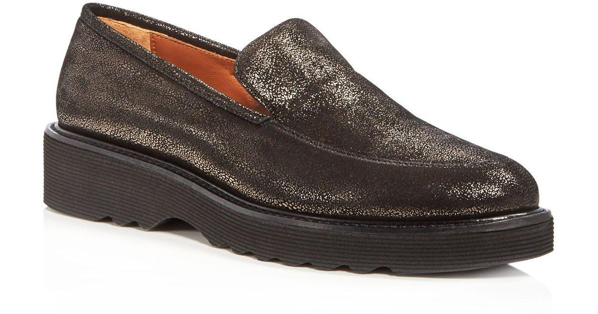 dfeaf6fa6fe Lyst - Aquatalia Women s Kelsey Weatherproof Suede Platform Loafers in Black