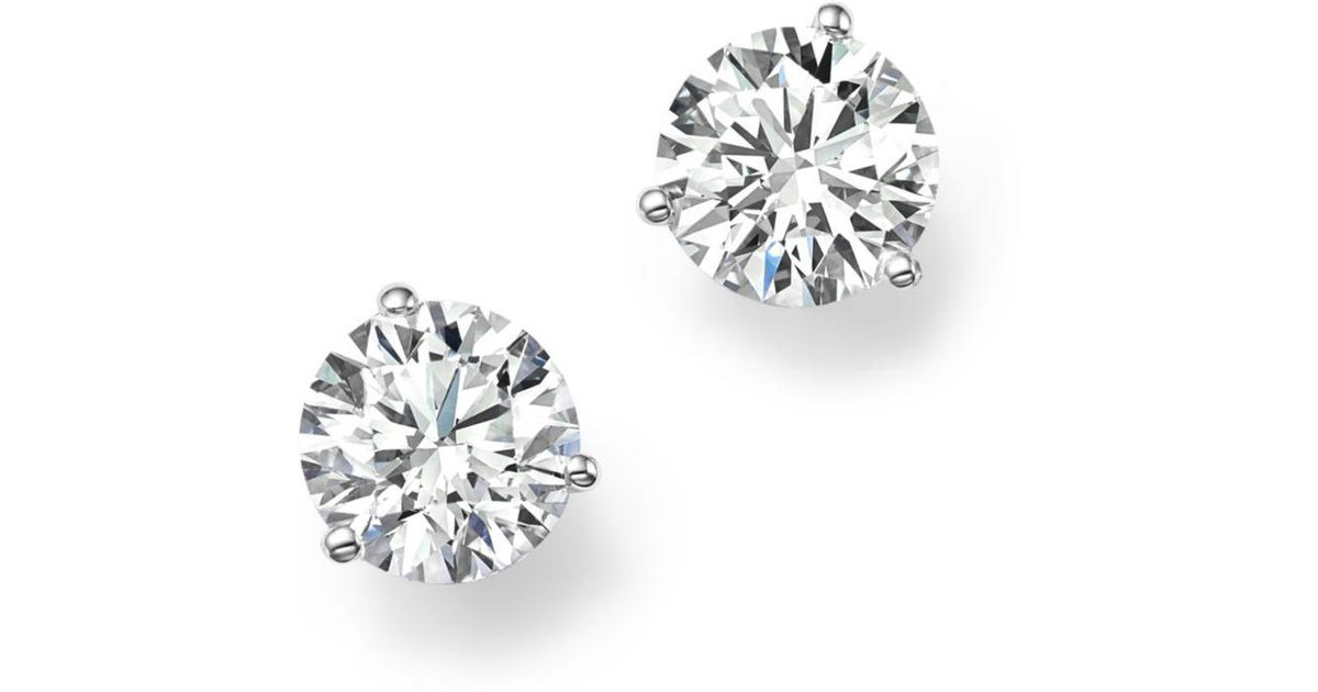 Lyst Bloomingdale S Certified Diamond Stud Earrings In 18k White Gold 50 Ct T W