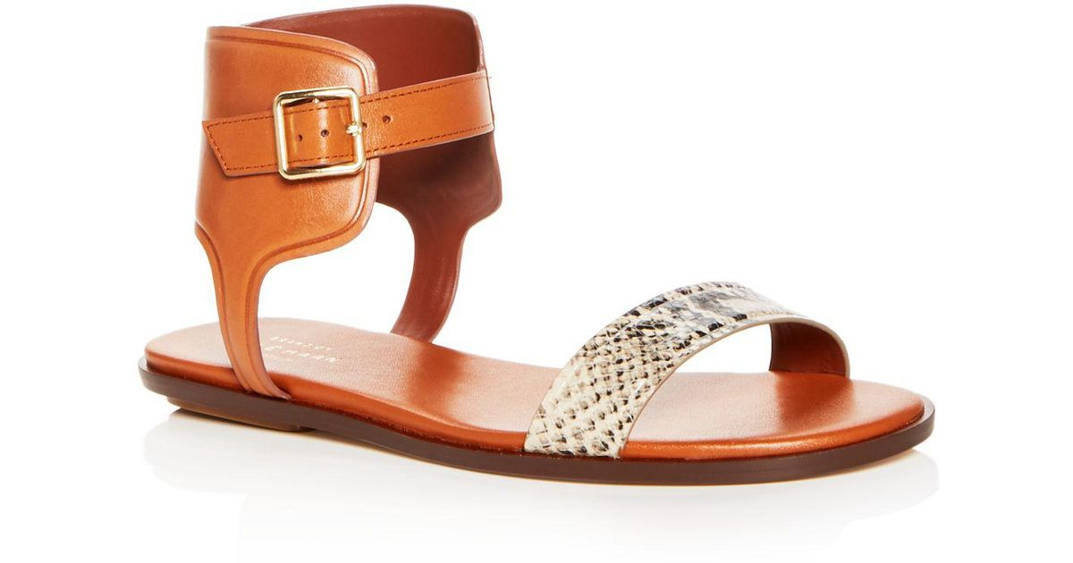 Cole Haan Women's Barra Snake Embossed Leather Ankle Strap Sandals QXMKFX7