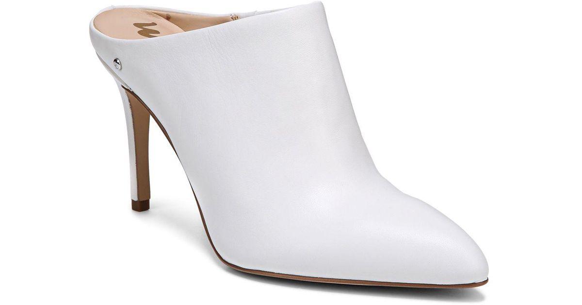 c9395f772786 Lyst - Sam Edelman Women s Oran Leather High-heel Mules in White