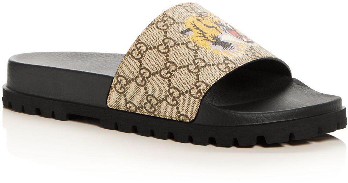 fe8cab05ef65 Lyst - Gucci Men s Gg Supreme St. Tiger Pool Slide Sandals in Natural