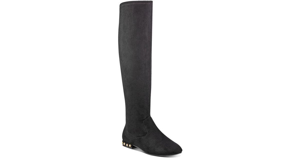 ea9285b892b Ivanka Trump Freeda Embellished Faux Suede Tall Boots in Black - Lyst