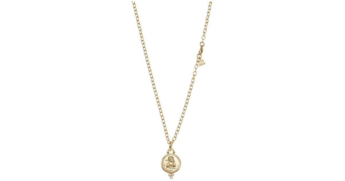 Lyst temple st clair 18k yellow gold angel pendant with diamonds lyst temple st clair 18k yellow gold angel pendant with diamonds in metallic aloadofball Image collections