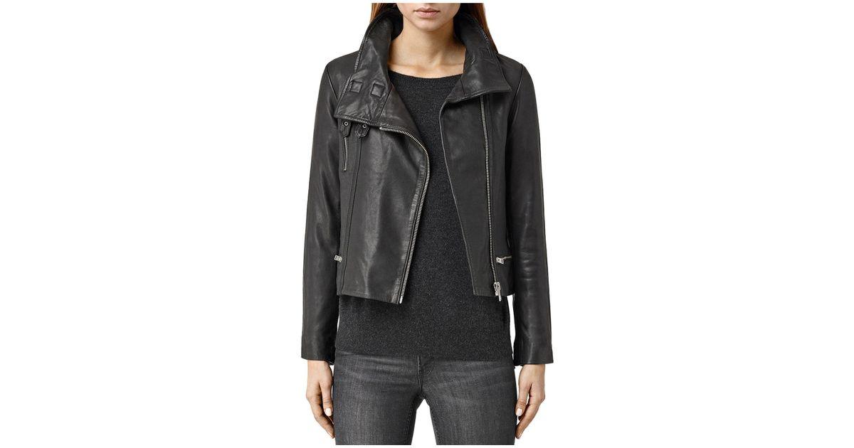 Allsaints Bales Leather Biker Jacket In Black Lyst