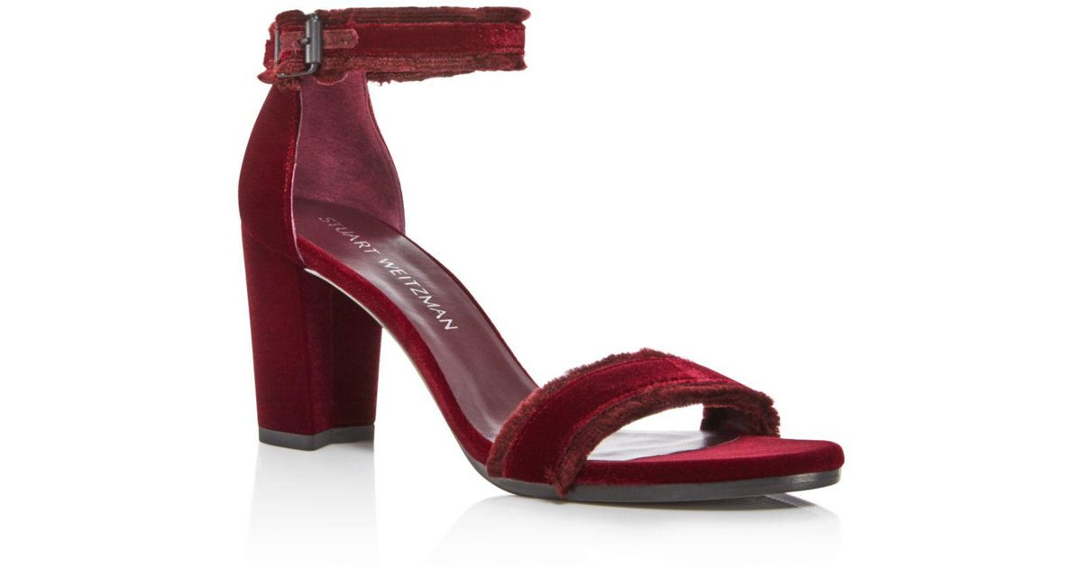 9e645f6ee27 Stuart Weitzman Frayed Velvet Ankle Strap High-heel Sandals in Red - Lyst