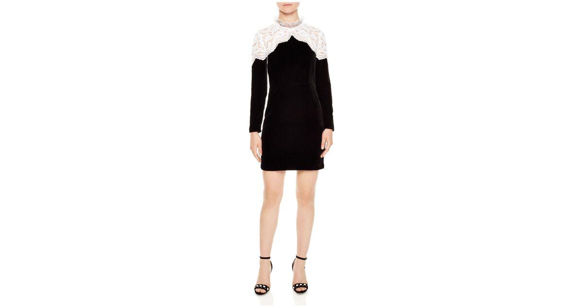 Sandro Black Junie Lace Yoke Velvet Mini Dress