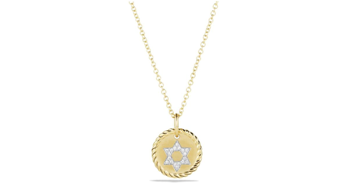 34bc71d4f66f David Yurman Cable Collectibles Star Of David Necklace With Diamonds In 18k  Gold in Metallic - Lyst