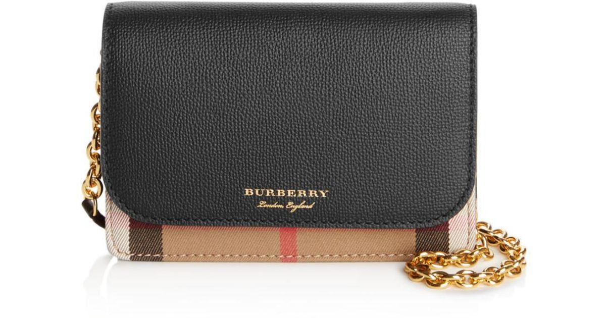 85e8d69605a5 Lyst - Burberry Hampshire House Check Crossbody in Black