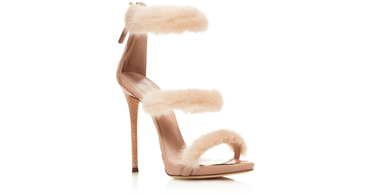 Heel Multicolor Mink Triple Sandals Zanotti High Giuseppe Band Lyst Fur 29WHYEID