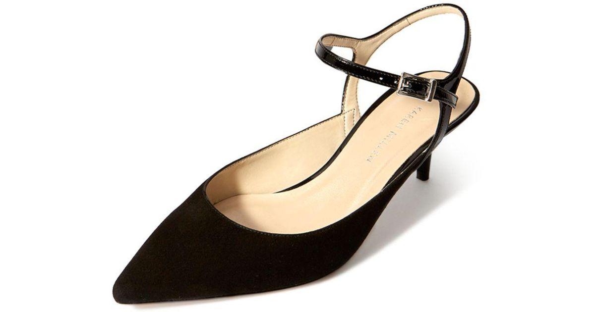 c898627f89 Lyst - Karen Millen Women's Court Leather Kitten Heel Pumps in Black