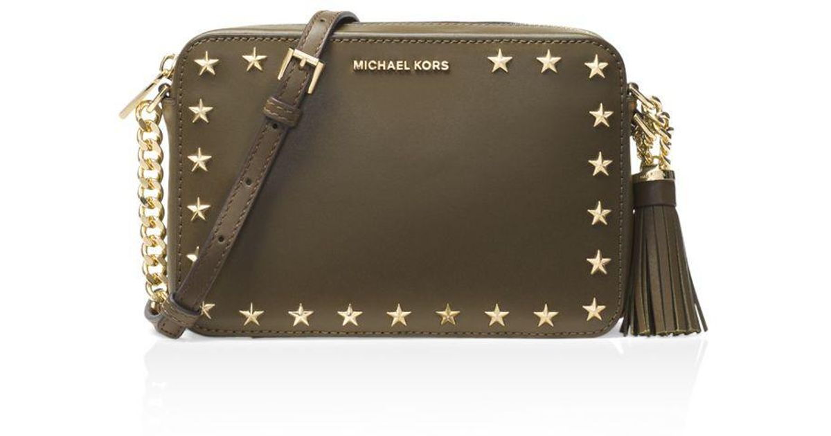 c28a5f0c8412 ... low cost lyst michael michael kors ginny star stud medium leather camera  bag d4d67 854e8