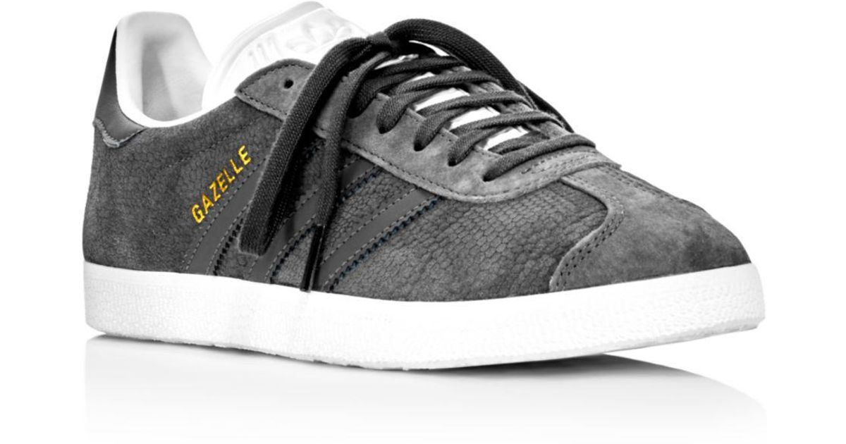 aa3b27bc4dc8 Lyst - adidas Women s Gazelle Embossed Suede Lace Up Sneakers in Gray -  Save 56%