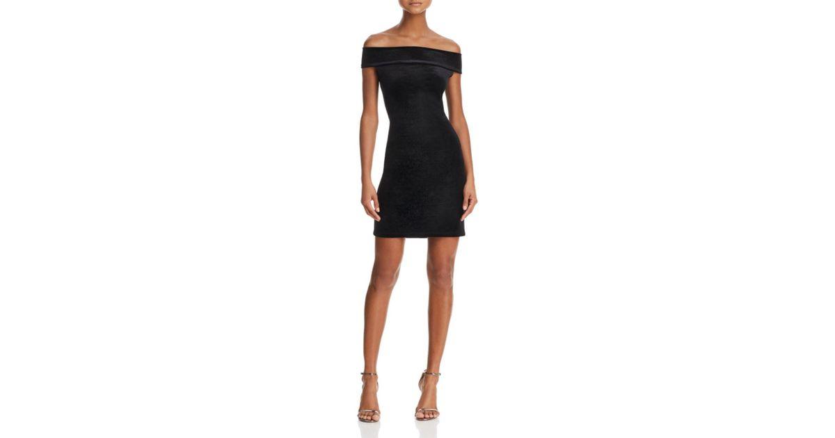 045e841537 French Connection Lula Off-the-shoulder Velvet Dress in Black - Lyst
