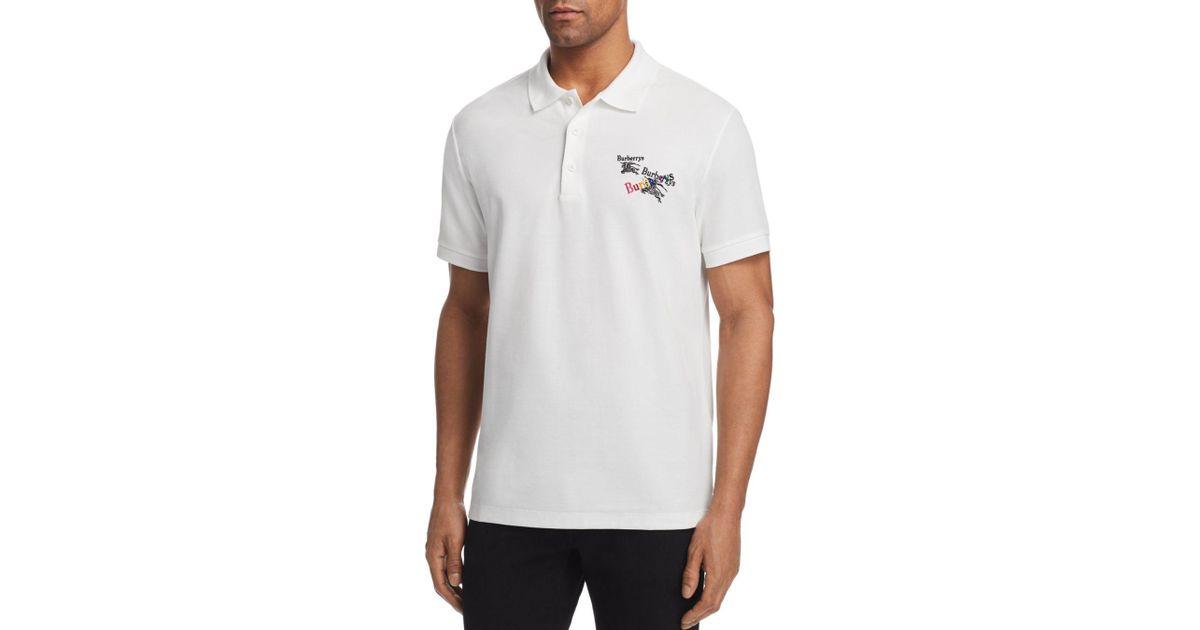 ffb74895e Burberry Burnton Regular Fit Polo Shirt in White for Men - Lyst