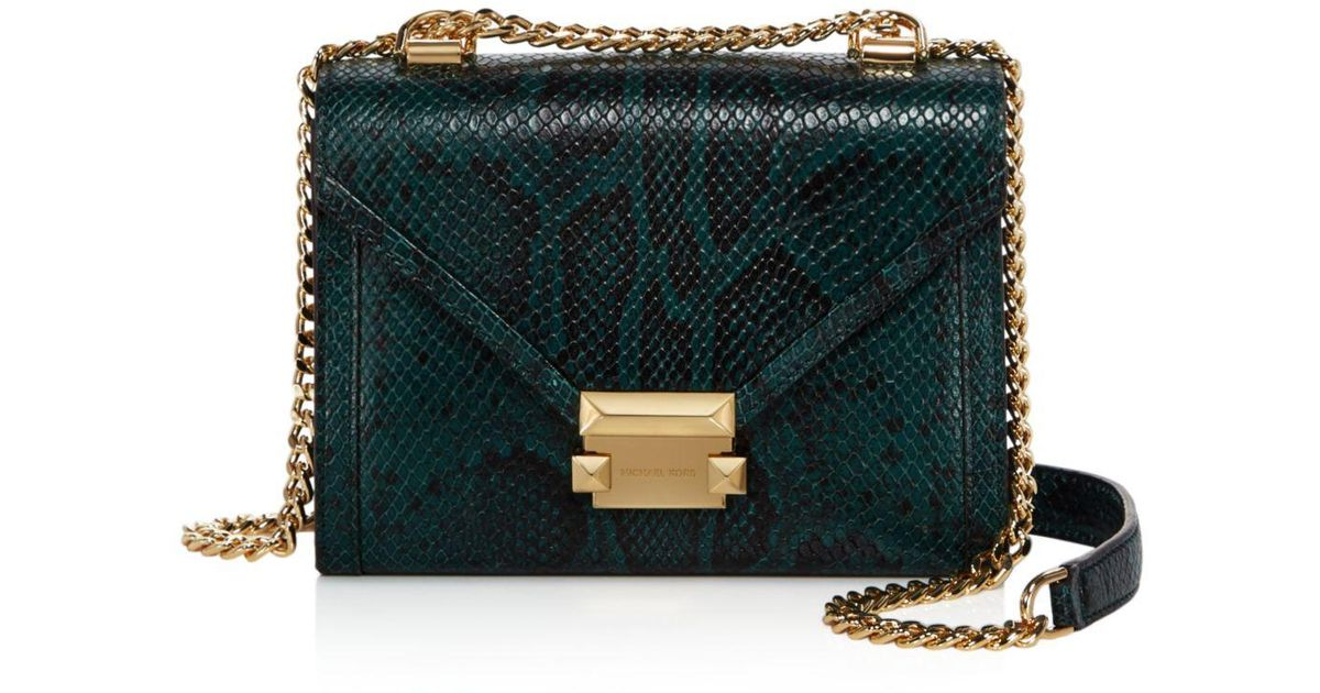 d8156005d4db MICHAEL Michael Kors Whitney Small Leather Shoulder Bag in Green - Lyst