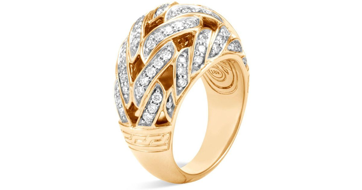 John Hardy Classic Chain Dome Ring With Diamonds
