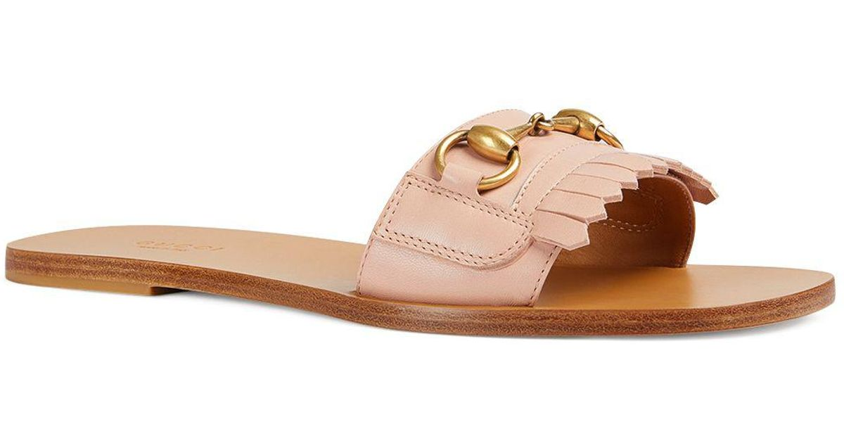 803e73f121fc Lyst - Gucci Women s Varadero Fringe Leather Slide Sandals in Pink