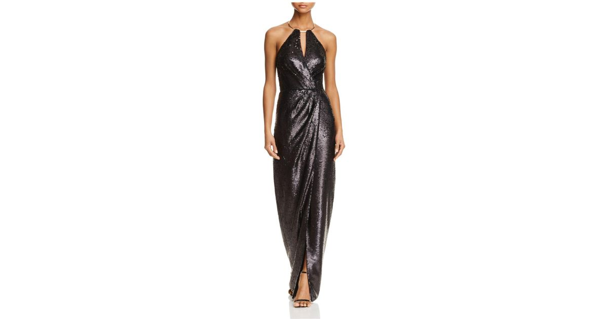 Lyst - Js Collections Sequin Halter Gown in Black