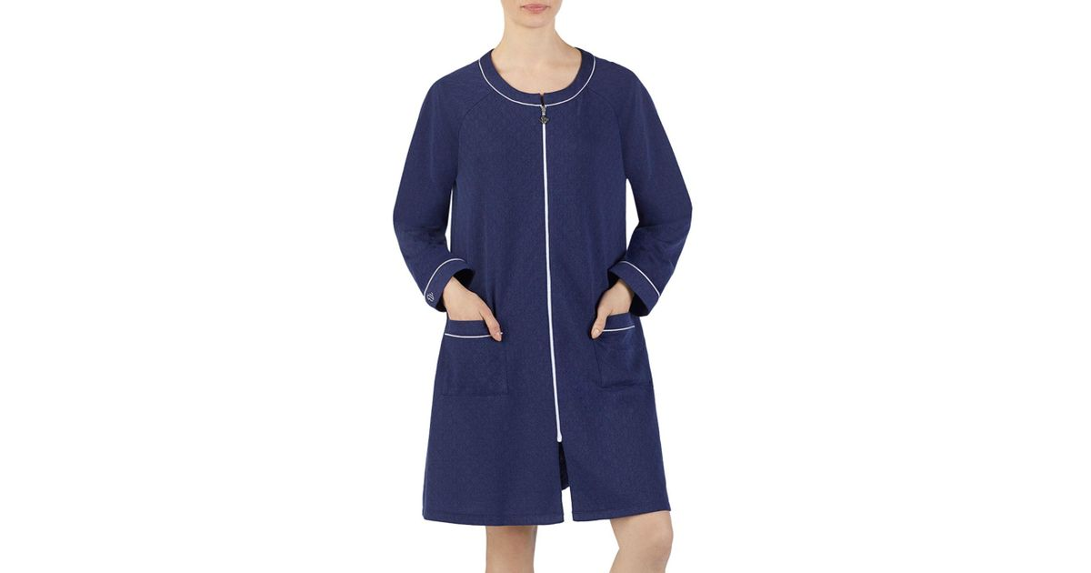 2b4f4e9523 Eileen West Short Matelasse Zip Robe in Blue - Lyst