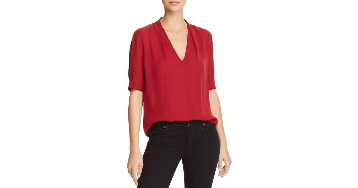 61971f6911505 Lyst - Joie Ance Silk Top in Red