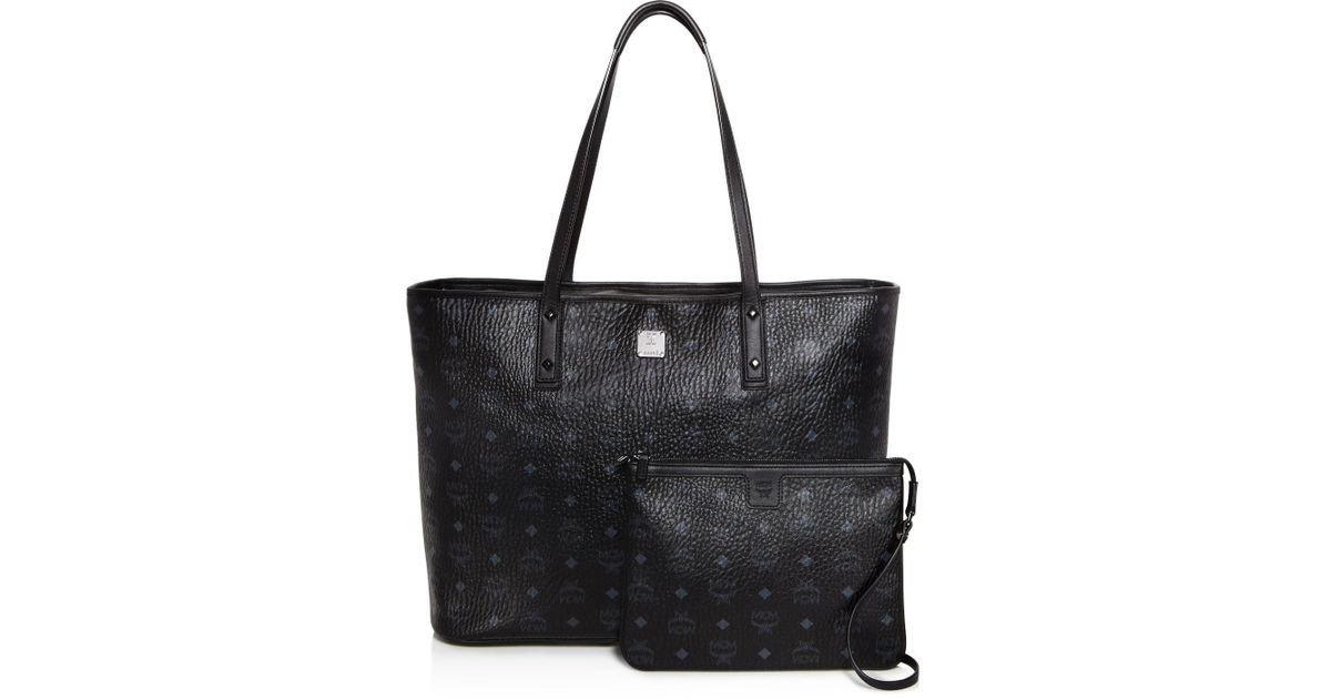 lyst mcm anya logo zip large shopper tote. Black Bedroom Furniture Sets. Home Design Ideas