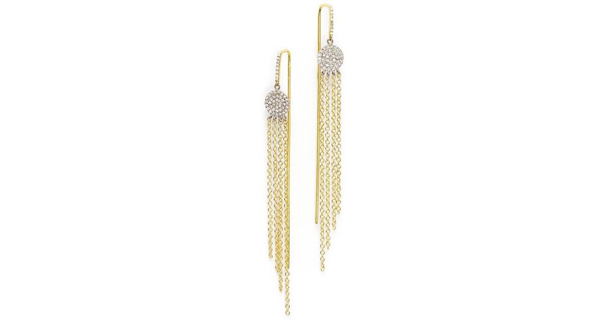 Lyst Meira T 14k Yellow Gold And White Fringe Earrings With Diamonds In Metallic