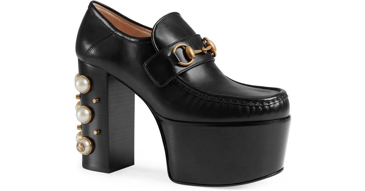 Lyst - Gucci Women s Vegas Leather High Heel Platform Loafers in Black 735f43c379