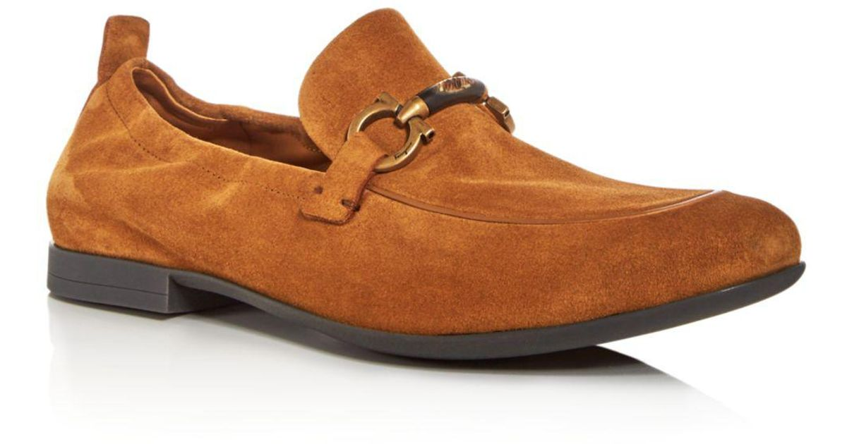 b69e76e1449 Lyst Ferragamo Men S Celso Suede A Toe Loafers In Brown For