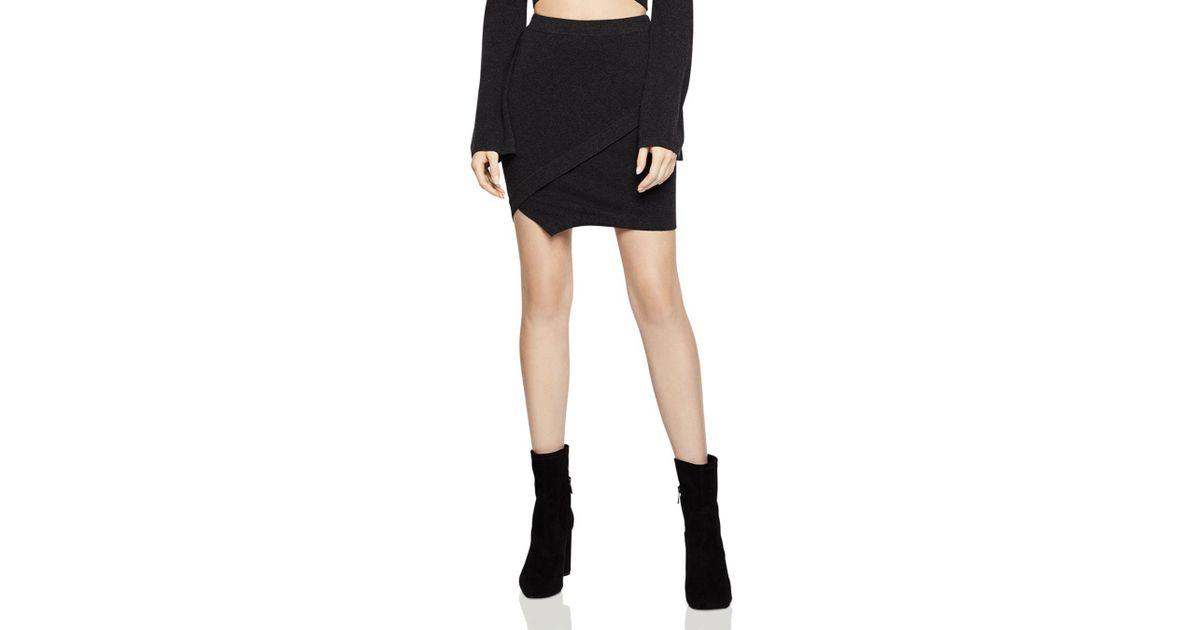 BCBGeneration - Black Envelope-hem Mini Skirt - Lyst
