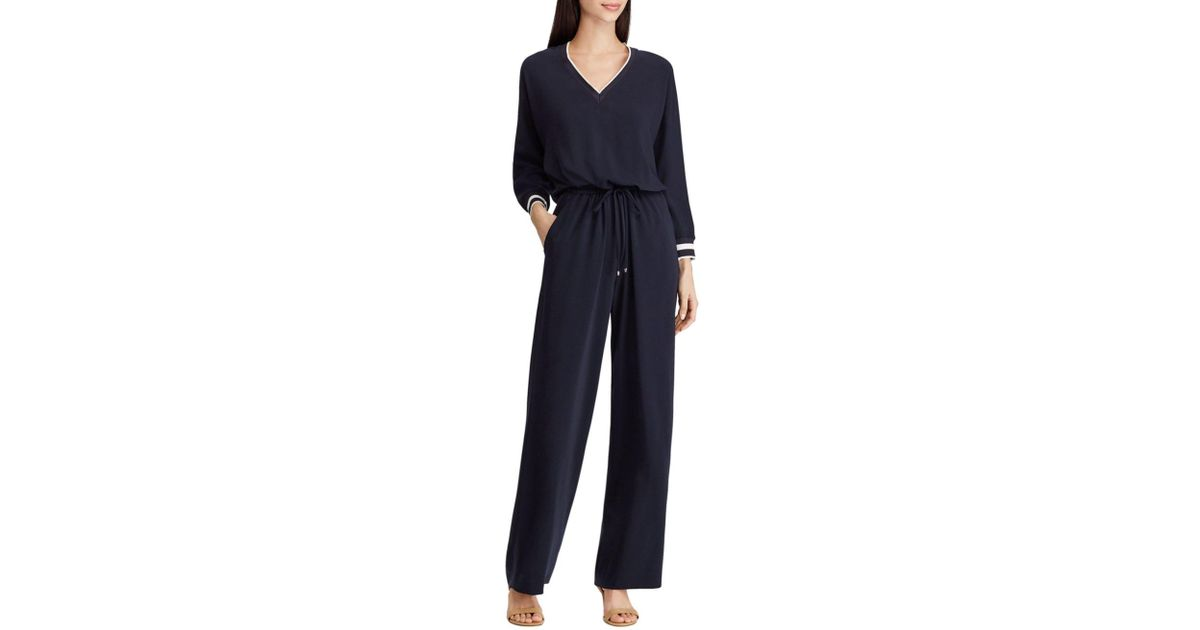 4dfc97ff44d Lyst - Ralph Lauren Lauren Striped Trim Drawstring Jumpsuit in Blue