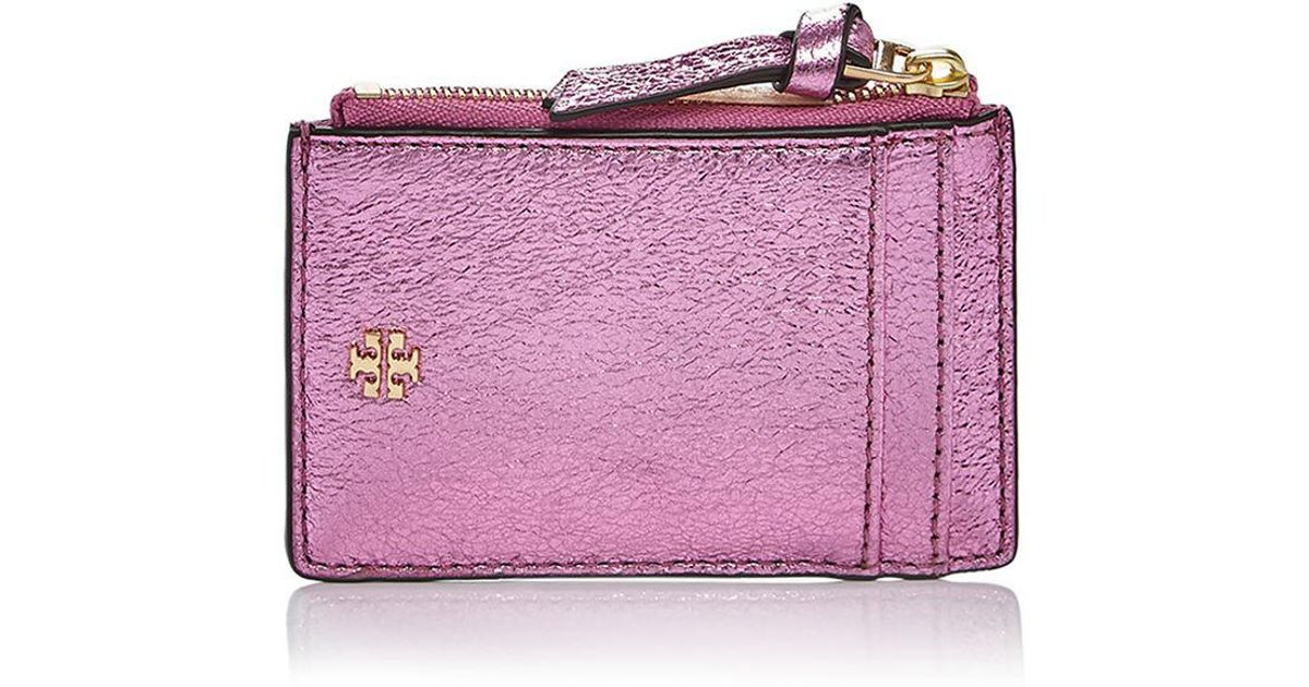 978ceaf3299e Lyst - Tory Burch Crinkle Metallic Leather Zip Card Case in Pink