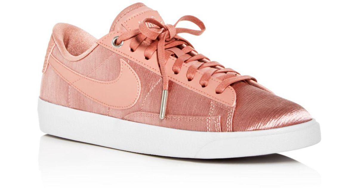 new styles d5bcb 7049f Lyst - Nike Women s Blazer Embossed Satin   Leather Lace Up Sneakers in Pink