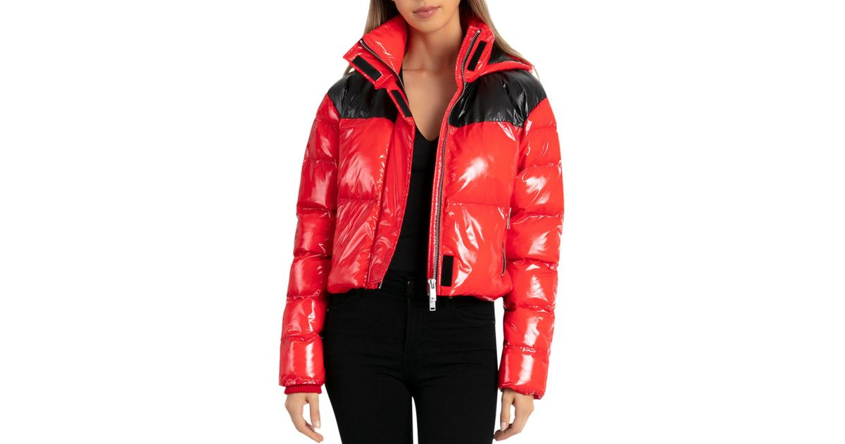 4d3c6a1f84 BAGATELLE.NYC Cropped Hooded Puffer Jacket in Red - Lyst