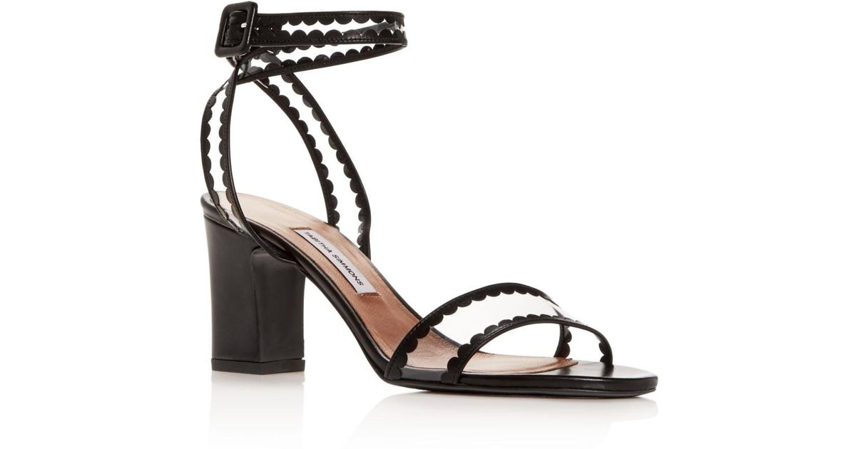 78d7edb351d Lyst - Tabitha Simmons Women s Leticia Scallop Trim High-heel Sandals in  Black