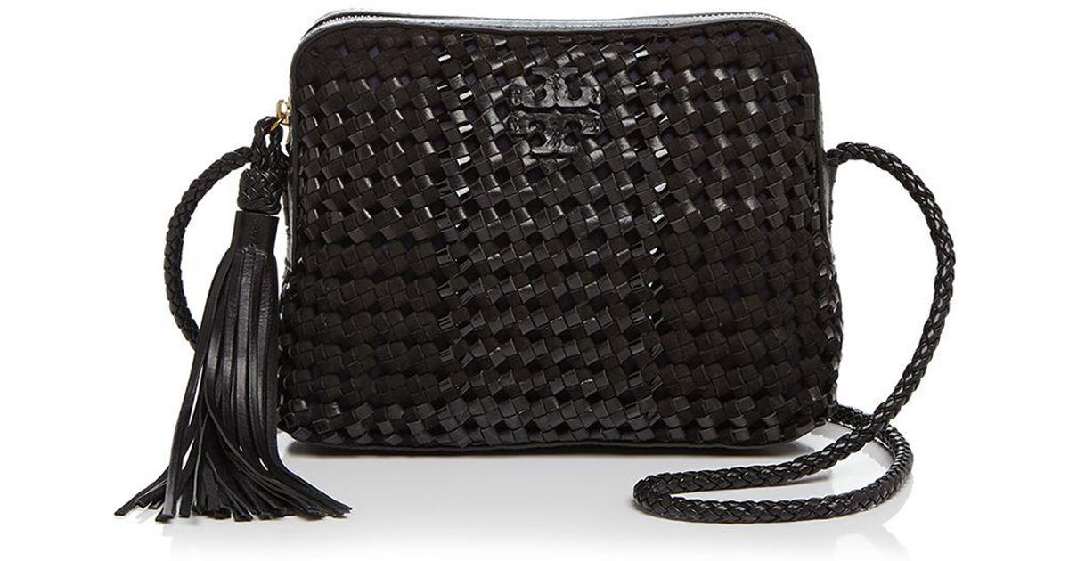 d95de9b4c58e Lyst - Tory Burch Taylor Woven Leather Camera Bag in Black