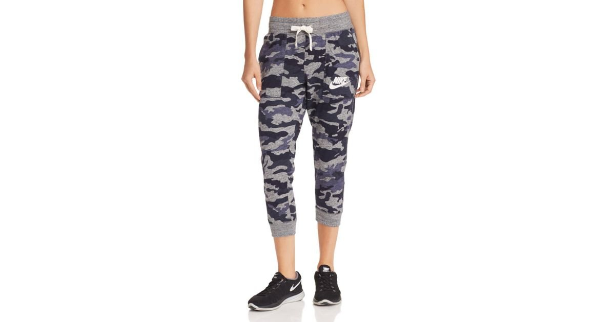 detailed look 6c162 3897d Lyst - Nike Gym Vintage Camo Cropped Sweatpants in Blue