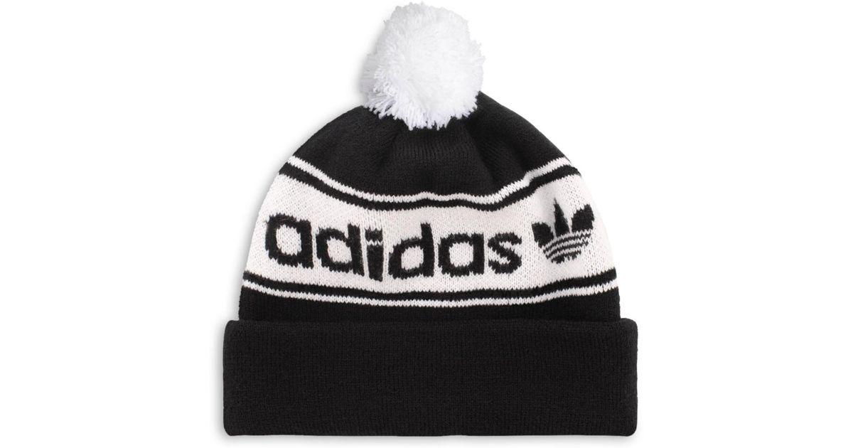 c674f987e Adidas Originals - Black Logo-stripe Pom-pom Beanie for Men - Lyst