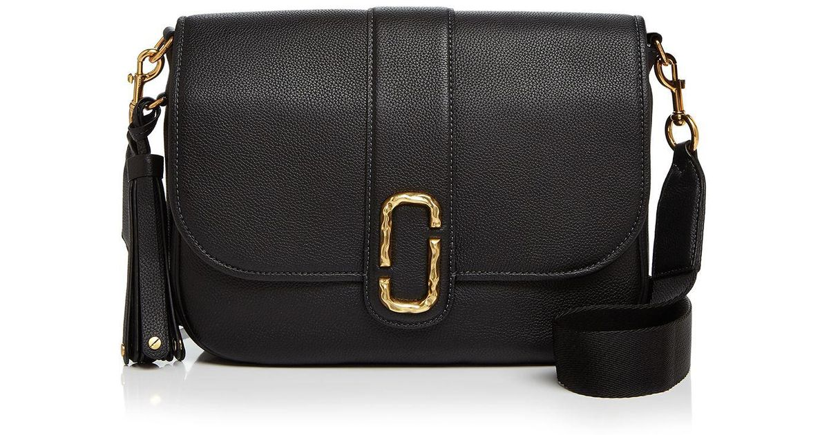 f4023c6388 Lyst - Marc Jacobs Interlock Courier Leather Messenger in Black