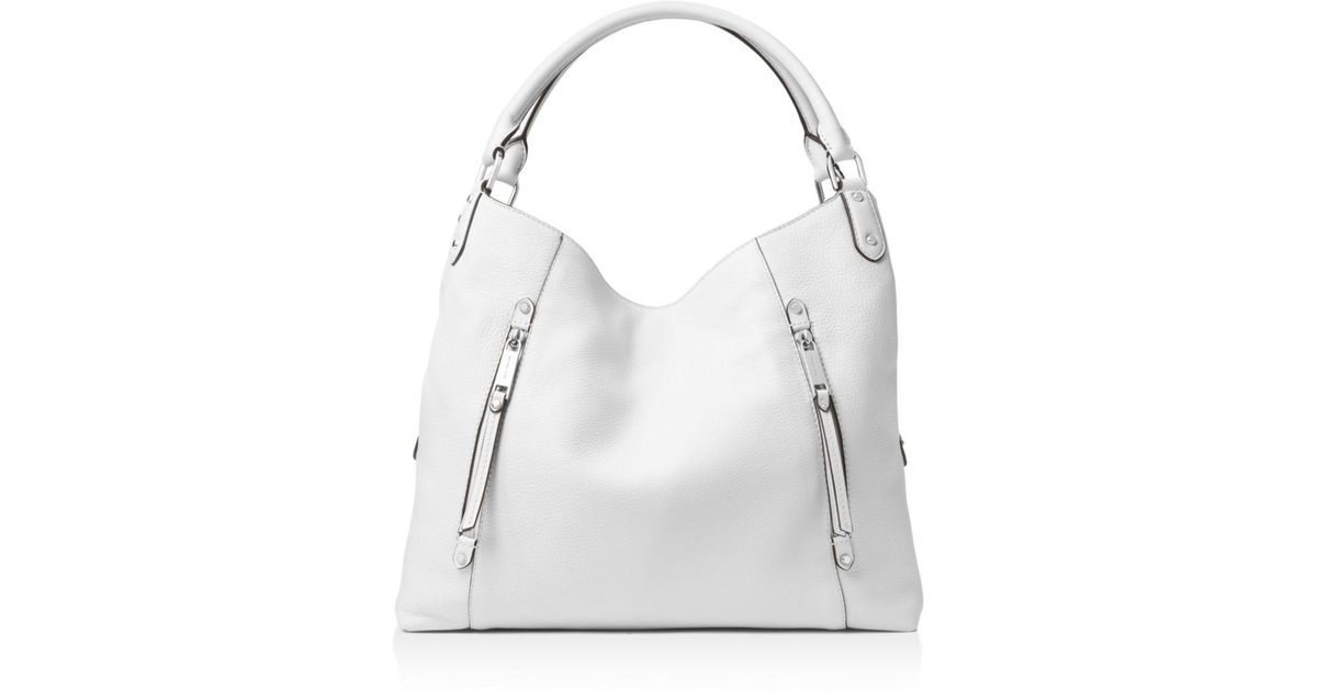 f514fca644b1 MICHAEL Michael Kors Evie Large Leather Shoulder Tote in White - Lyst