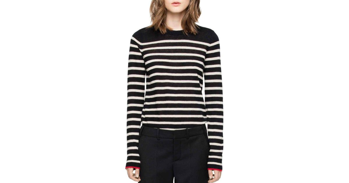 1b387b9ea8f187 Zadig & Voltaire Miss Stripes Cashmere Sweater in Black - Lyst