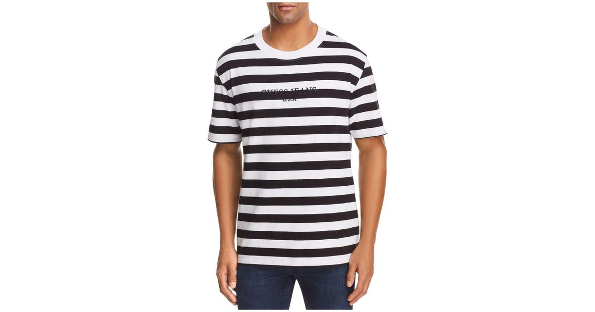 3a5202c94c8c Guess Logo Striped Crewneck Short Sleeve Tee in Black for Men - Lyst